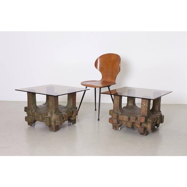 Wonderful and very impressive pair of massive bronze side tables. The tables are made by an German artist in the 1960s and...