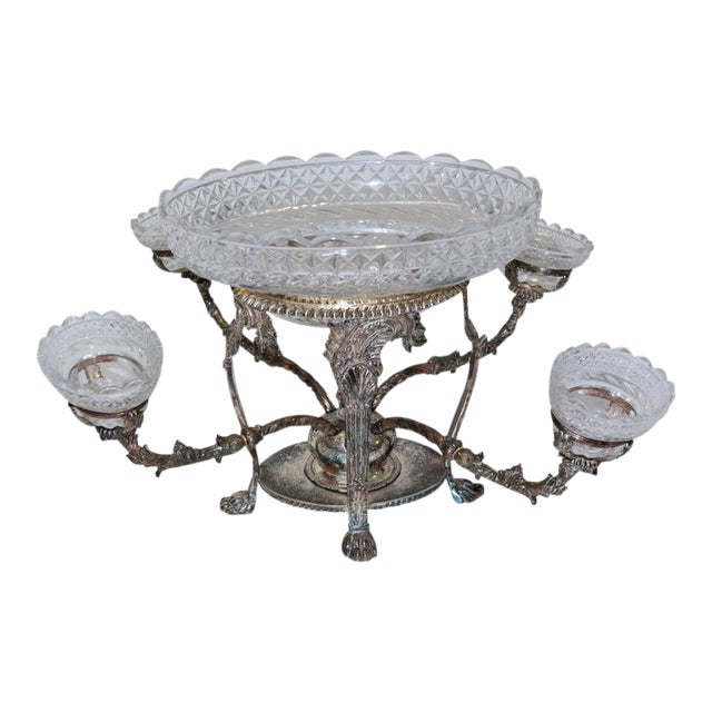 Bohemian Cut Crystal & Silver Centerpiece - Image 1 of 10