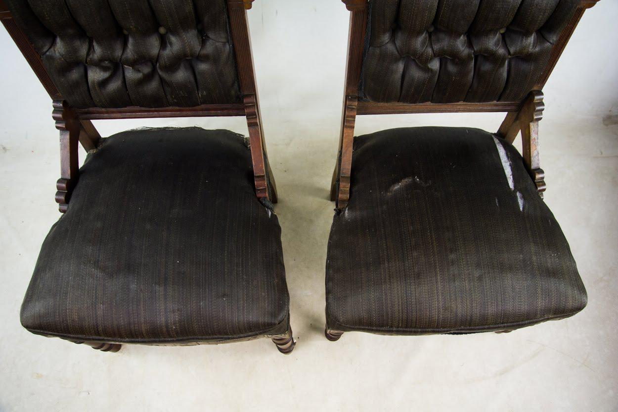 Antique Victorian Eastlake Black Slipper Chairs   A Pair   Image 5 Of 10