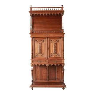 Antique Carved Oak Tall French Bar Cabinet For Sale