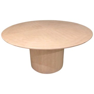 Mid-Century Modern Karl Springer Circular Dining Table With 3 Leaves For Sale