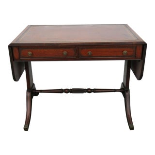 1940s Traditional Mahogany Drop Leaf Leather Top Writing Desk For Sale