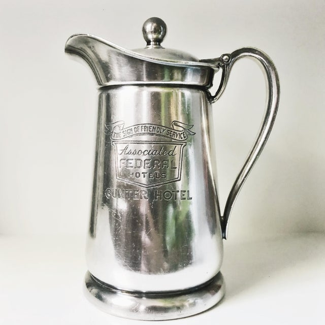 Metal 1955 Silver Plated Insulated Pitcher From Gunter Hotel in San Antonio Tx For Sale - Image 7 of 7