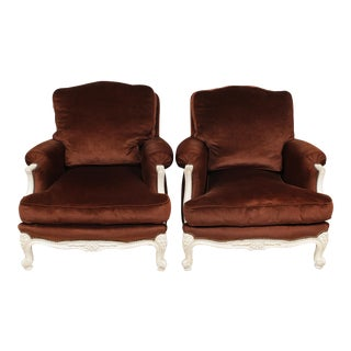 Retro 1970s Brown Louis XV Brown Velvet Bergere Chairs - a Pair