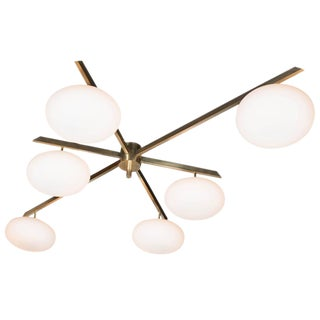 Modernist Brass and Frosted Glass Six-Arm Globe Chandelier For Sale