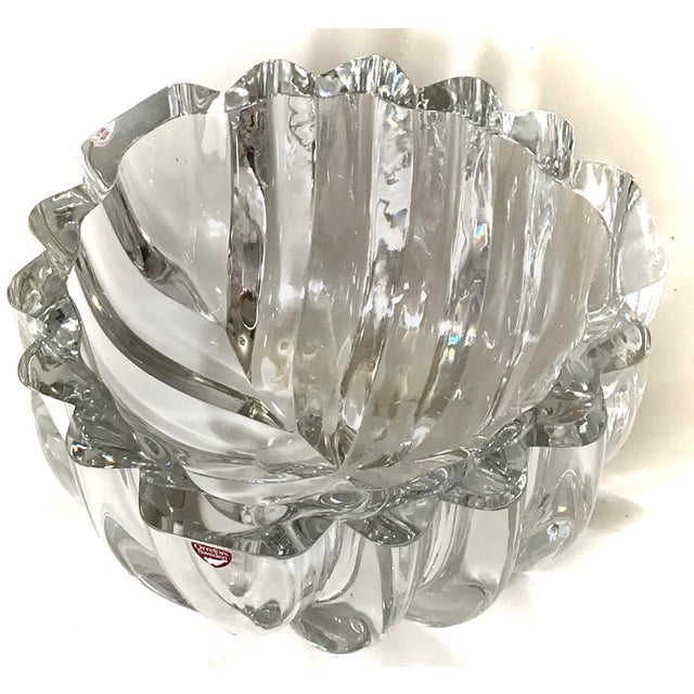"""Beautiful heavy large signed Orrefors Swedish crystal art glass Isabella bowl 4.75"""" x 8.25"""" Pristine condition - estate..."""