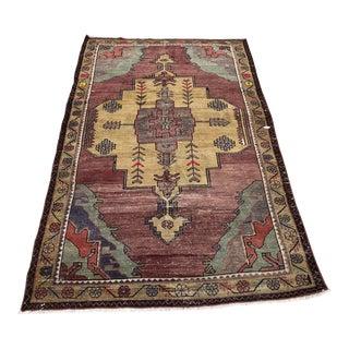 "Antique Turkish Boho Decor Wool Rug-3'10x6'8"" For Sale"