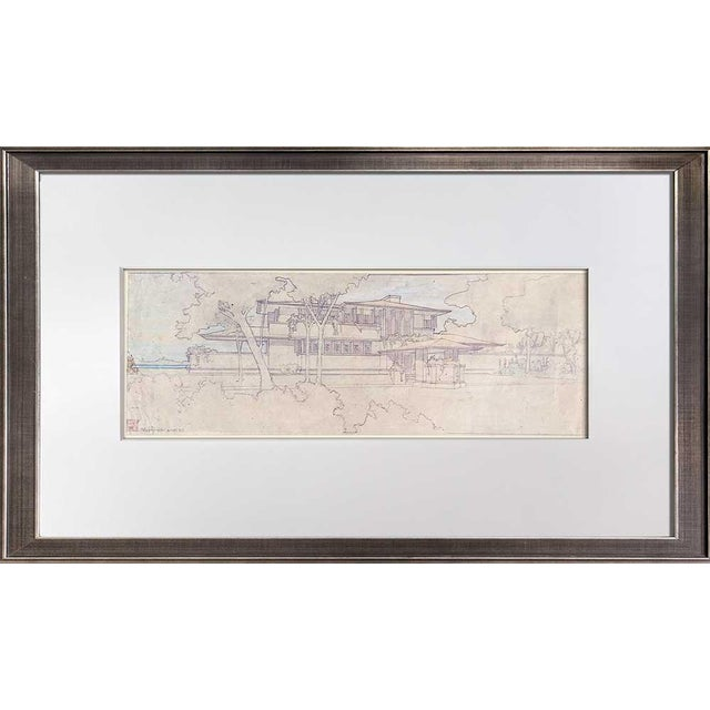 "Frank Lloyd Wright Lithograph Limited Edition ""Ee Boynton House, Ny, Framed For Sale"