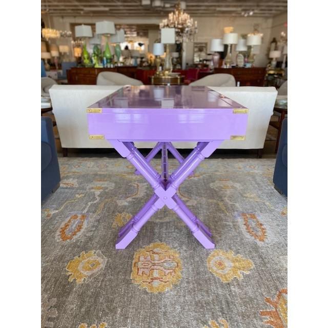 Vintage Campaign Purple Lacquer Writing Desk For Sale In Dallas - Image 6 of 9