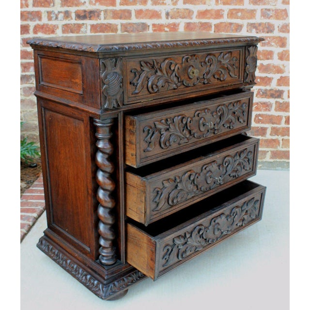 Brown Antique French Oak Mid-19th Century Renaissance Revival Barley Twist 3-Drawer Chest Entry Commode Cabinet For Sale - Image 8 of 13