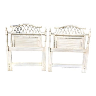 A Pair Dixie Allegro Faux Bamboo Fretwork Twin Size Palm Beach Regency Headboards For Sale