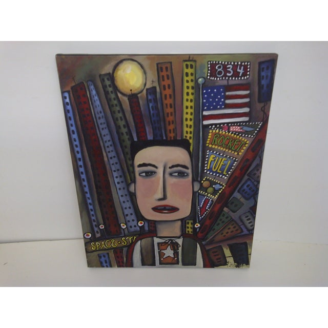 """Graffiti"" Art by T. Morgan, Modern Painting. Canvas on stretched strips. Very good condition."