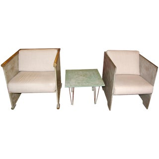 Late 20th Century Concrete, Wood and Brass Chairs and Matching Table- 3 Pieces For Sale