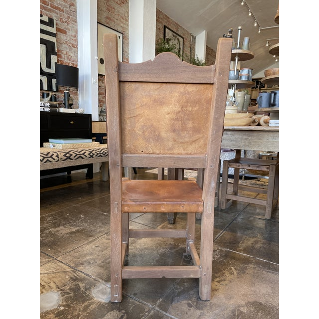 Spanish Colonial Style Rustic Leather Dining Room Chairs Set of 6 For Sale In Los Angeles - Image 6 of 9