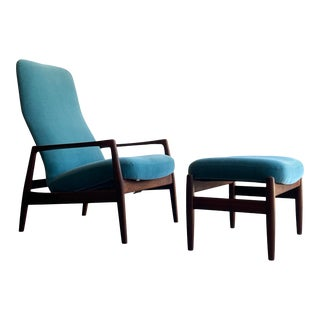 Folke Ohlsson Lounge Chair and Ottoman for Dux - 2 Pieces For Sale