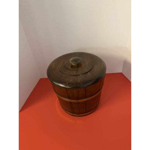 """Up for sale is a Large Oak Ice Bucket with Brass Bands 9"""" Tall 10"""" Wide"""