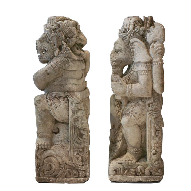 Antique Carved Sandstone Hindu Deities - A Pair - Image 3 of 7
