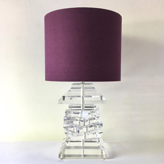 1970s Monumental Stacked Lucite Table Lamp 1970s For Sale - Image 5 of 5