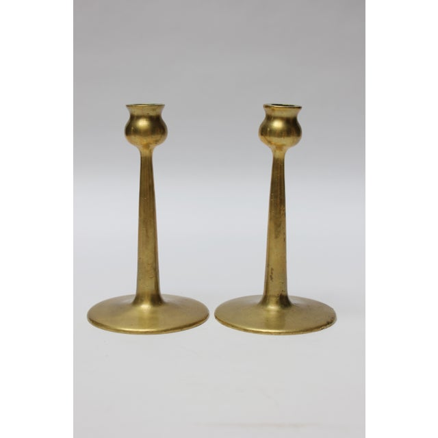 Mid-Century Modern Pair of Petite Mid-Century Modern Turned Brass Candlesticks After Jarvie For Sale - Image 3 of 13
