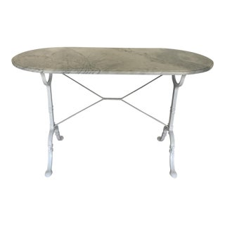 1920s French Carrara Marble Top Bistro Table For Sale