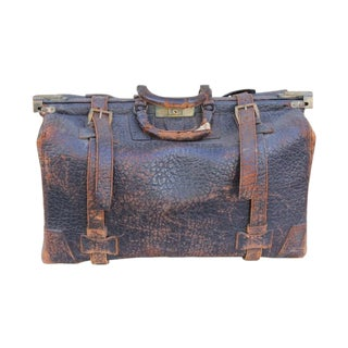 Old Leather Overnight Bag For Sale