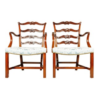 19th-C. English Ribbon Armchairs - A Pair