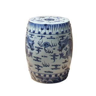 Chinese Blue & White Porcelain Round Double Dragons Theme Stool For Sale