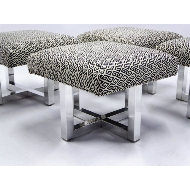 Pair of 1960s Polished Aluminum Upholstered Stools Benches( Two Pairs Available) For Sale In Miami - Image 6 of 11