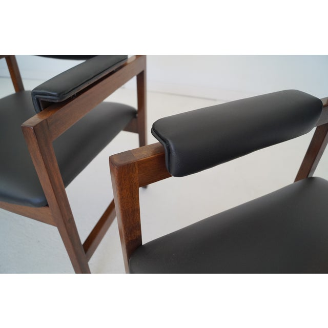 Black Mid-Century Walnut Arm Chairs - a Pair For Sale - Image 8 of 11