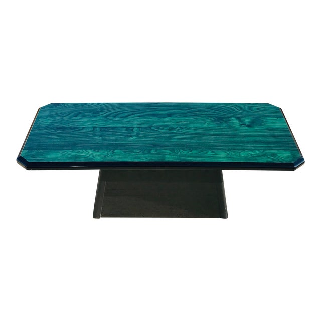 1980s Vintage Wood Coffee Table Malachite Finish For Sale