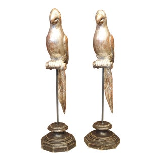 Pair of Carved and Silvered Italian Parrots on Stands, 20th Century For Sale