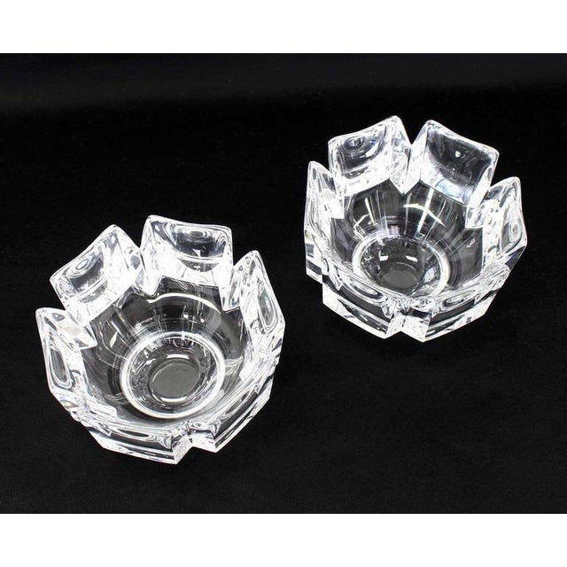 Contemporary Pair of Heavy Crystal Bowl Vases by Orrefors For Sale - Image 3 of 9