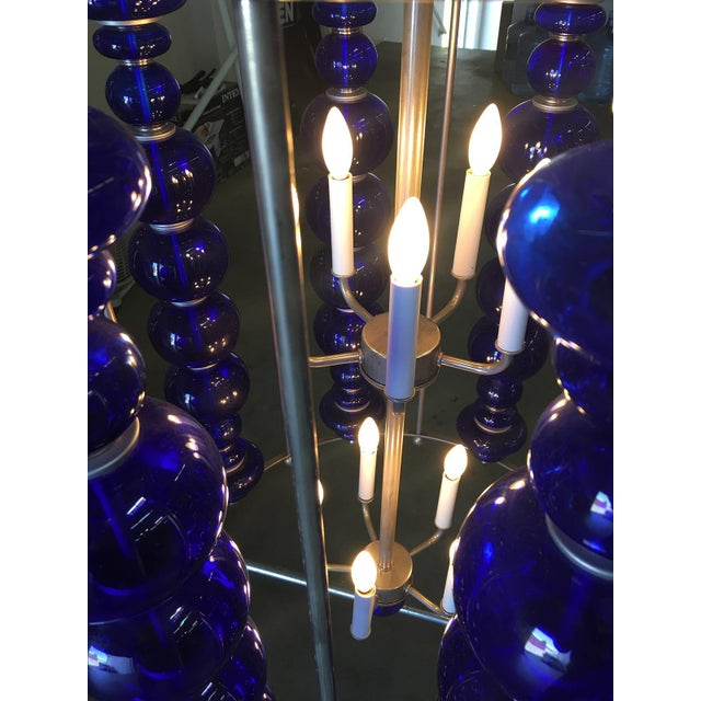 Mid-Century Modern Modern Stacked Cobalt Glass Chandelier W/ Nickel Finish For Sale - Image 3 of 7