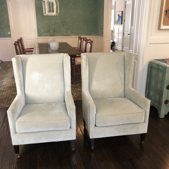 Windsor Smith Corduroy Celadon and Beige Wingback Chairs - a Pair For Sale In Los Angeles - Image 6 of 7