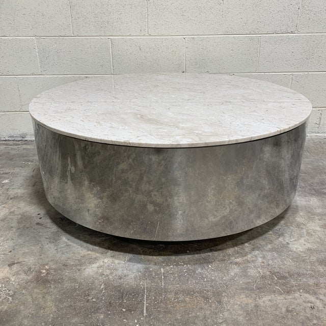 1970s Pace Carrara Marble & Chrome Drum Coffee Table For Sale - Image 11 of 11