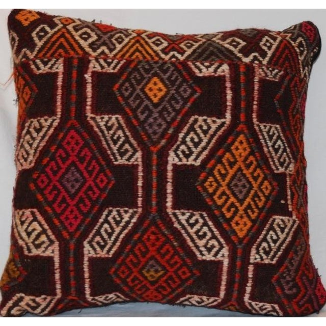 Vintage Handmade Boho Chic Wool Kilim Pillow For Sale - Image 4 of 5
