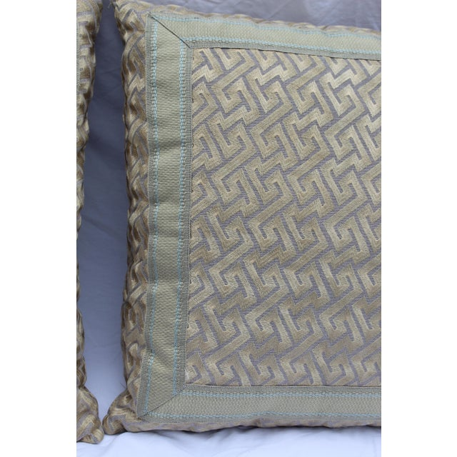 """Silk """"Greek Key"""" Down Pillows in Beige/Taupe With Light Green Embroidered Trim - a Pair For Sale - Image 12 of 13"""
