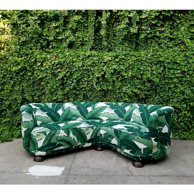Palmier Curved Art Deco Sofa For Sale - Image 11 of 11