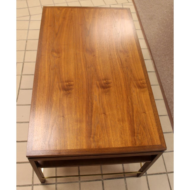 Brass Mid Century Modern Wormley Dunbar Walnut Brass Coffee Occasional Console Table For Sale - Image 7 of 13