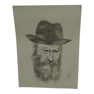 """Lubavitcher Rebbe"" Original Sketch on Paper For Sale"