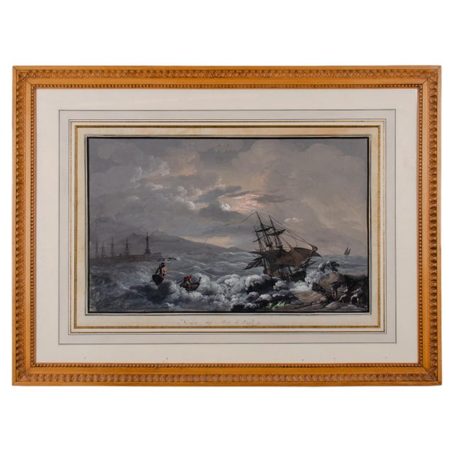 """Camillo De Vito """"View From Naples Pier"""" Gouache Painting C.1820s For Sale - Image 11 of 11"""
