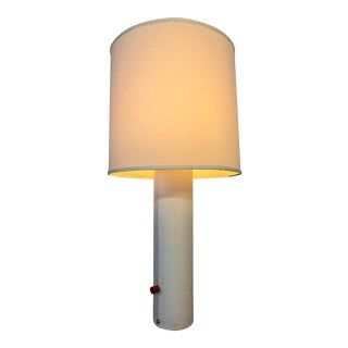 George Kovacs Mid Century Tall White Leather Lamp With 5 Sockets For Sale