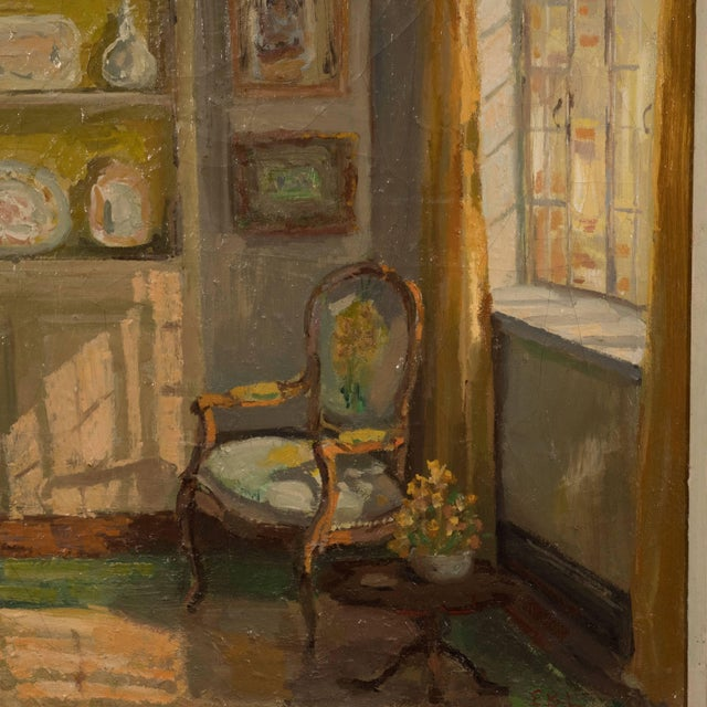 Framed Oil Painting of an Interior For Sale In New York - Image 6 of 11