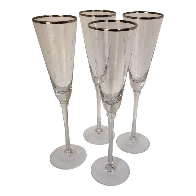 Set Of 4 Silver Rim Etched Starburst Champagne Flutes For Sale