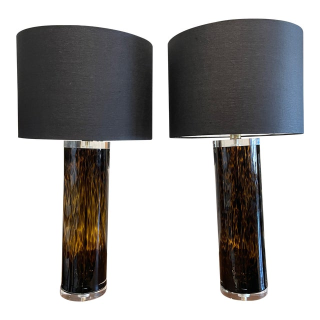 Mid-Century Modern Lucite and Faux Tortoiseshell Italian-Made Glass Table Lamps For Sale