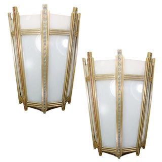 "Art Deco Bronze and Glass ""Federal"" Wall Sconces - a Pair"