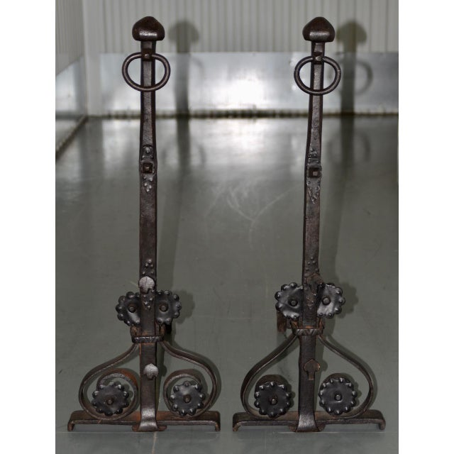 Metal 19th Century Hand Forged Wrought Iron Andirons - a Pair For Sale - Image 7 of 7