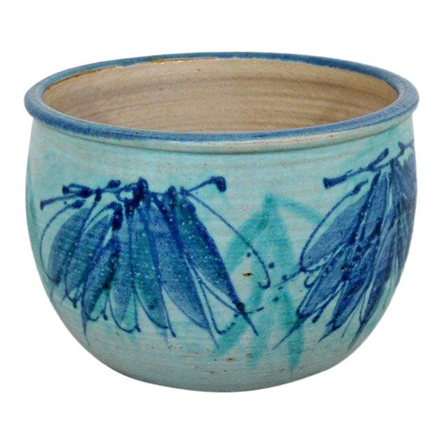Mid-Century Modern Signed j.t. Abernathy Blue Glazed Ceramic Pot, 1960s For Sale