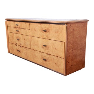 Burl Wood Long Dresser or Credenza by Lane For Sale