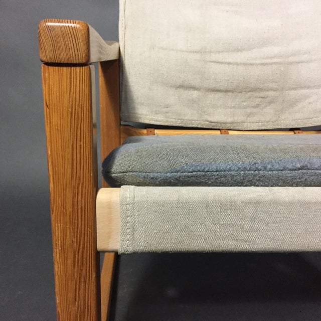 "Karin Mobring ""Diana"" Armchair, Pine & Canvas, Sweden 1970s For Sale - Image 4 of 12"